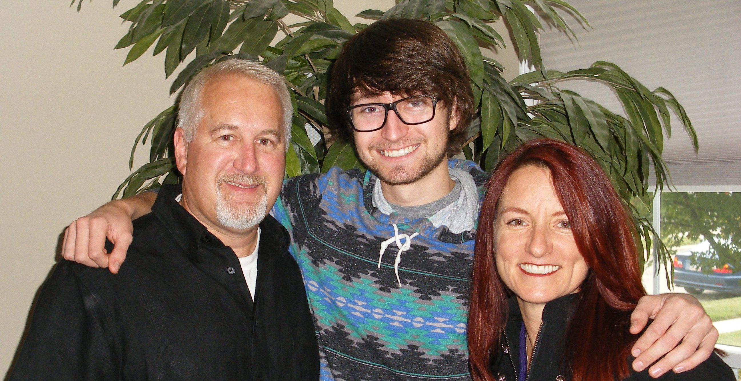 Bob, Ian, and Teresa at Bob's House for Ian's 21st birthday